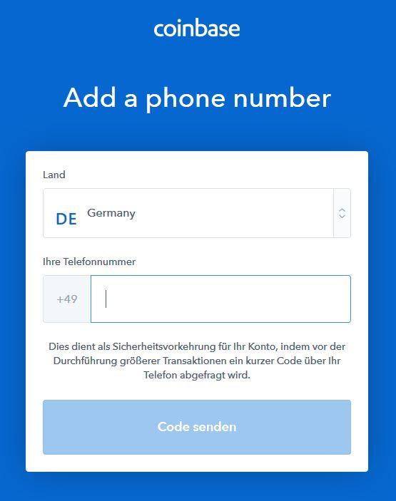 Bitcoin kaufen: Mobilfunknummer eingeben