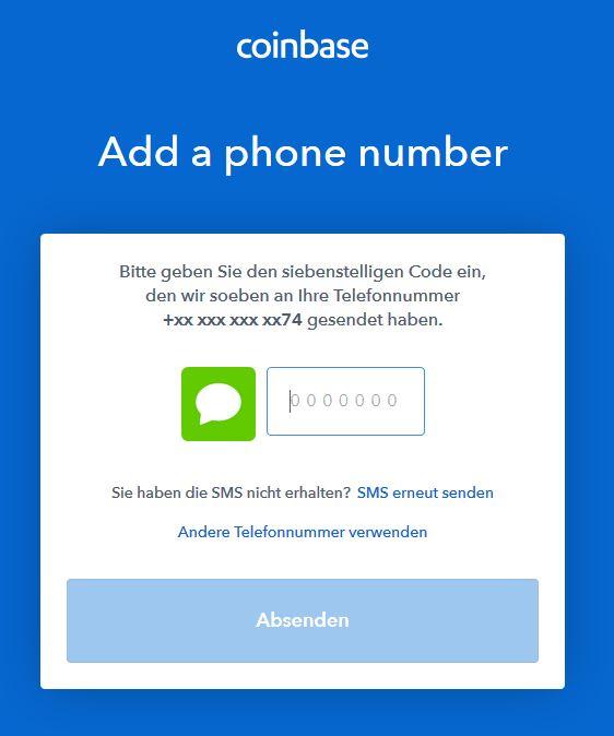 Bitcoin kaufen: SMS-Code eingeben